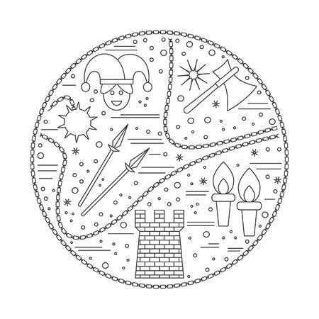 Iconos medievales, símbolos en composición redonda. Bufón, lanzas, torre, antorcha, hacha. Elementos de diseño medievales aislados sobre fondo blanco. Vector de la plantilla. Foto de archivo - 75556224