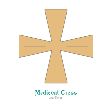 Medieval knight cross, insignia symbol. Single logo,flat, thin line style isolated on white background. Colorful medieval theme symbol. Simple medieval pictogram logotype template. Vector illustration