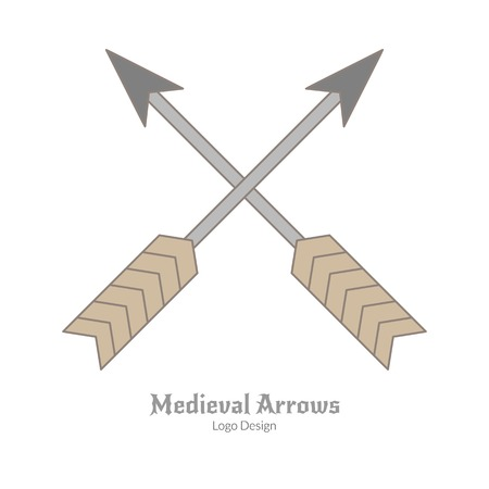 Medieval crossed arrows. Single archery logo in flat and thin line style isolated on white background. Colorful medieval theme symbol. Simple medieval pictogram, logotype template. Vector illustration