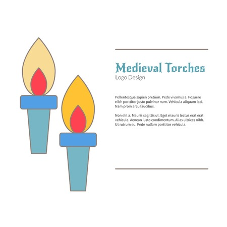 Two Medieval flame torches. Double torch logo, flat and thin line style isolated on white background. Colorful medieval theme symbol. Simple medieval pictogram, logotype template. Vector illustration. Vettoriali