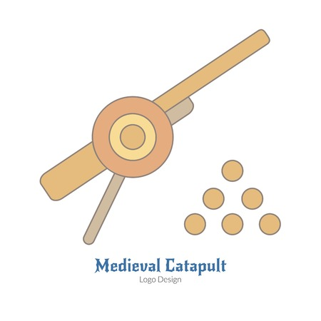 Medieval cannon with cannonballs. Single logo in flat, thin line style isolated on white background. Colorful medieval theme symbol. Simple medieval pictogram, logotype template. Vector illustration.