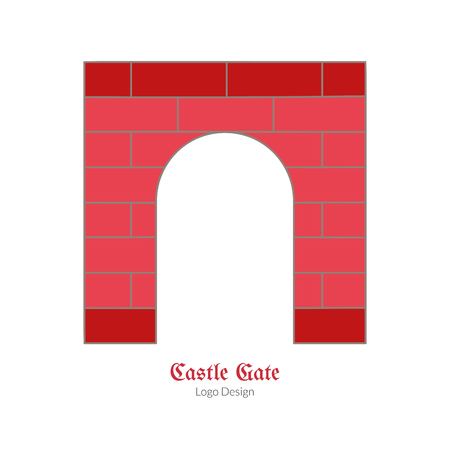 Medieval castle brick gate. Single logo in modern flat, thin line style isolated on white background. Colorful medieval theme symbol. Simple medieval pictogram, logotype template. Vector illustration.