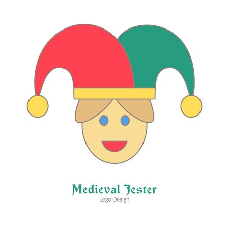 Medieval jester, buffoon, juggler. Single logo, flat and thin line style isolated on white background. Colorful medieval theme symbol. Simple medieval pictogram, logotype template. Vector illustration