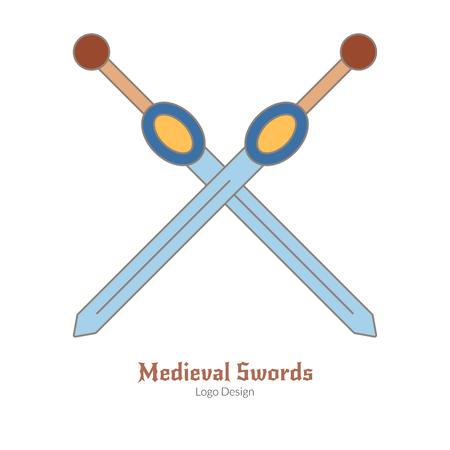 Espadas cruzadas medievais. Logotipo de armas, moderno estilo de linha plana, fina, isolado no fundo branco. Símbolo do tema medieval colorido. Pictograma medieval simples, modelo de logotipo. Ilustração vetorial Foto de archivo - 81504600