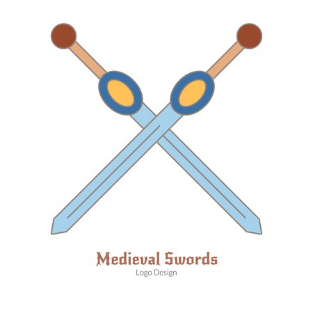 Medieval crossed swords. Logo of weapons, modern flat, thin line style isolated on white background. Colorful medieval theme symbol. Simple medieval pictogram, logotype template. Vector illustration.