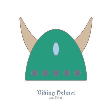 Medieval horned Viking helmet. Single logo, modern flat, thin line style isolated on white background. Colorful medieval theme symbol. Simple medieval pictogram, logotype template. Vector illustration Illustration