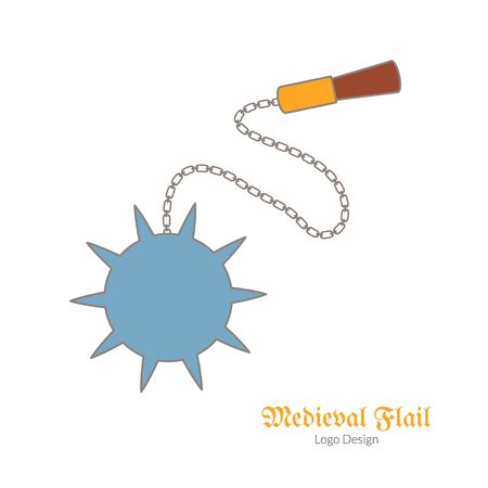Medieval flail, mace. Morning star. Single logo, flat, thin line style isolated on white background. Colorful medieval theme symbol. Simple medieval pictogram, logotype template. Vector illustration.