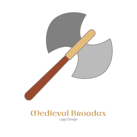 Medieval guard double axe, broadax. Single logo in flat, thin line style isolated on white background. Colorful medieval theme symbol. Simple medieval pictogram, logotype template. Vector illustration Illustration