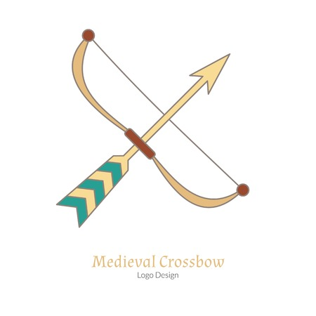 Medieval crossbow, arbalest. Single logo in modern flat, thin line style isolated on white background. Colorful medieval theme symbol. Simple medieval pictogram, logotype template. Vector illustration