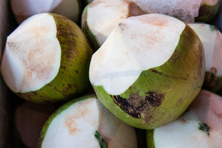 Thai coconuts in the market photo