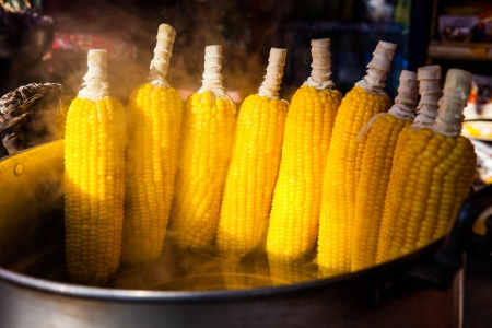 Boiled corn in thai style photo