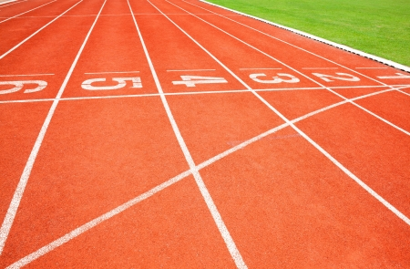 Numbers on running track photo