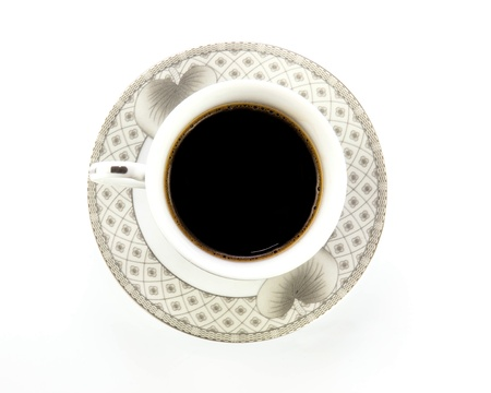 close up coffee cup on white background photo