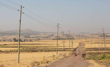 Addis Ababa, Ethiopia, January 30, 2014, Rural Ethiopia, Farm land, dry landscape Stok Fotoğraf