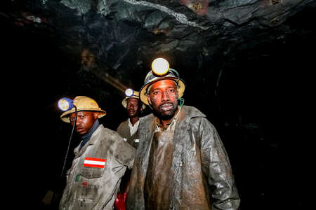 Johannesburg, South Africa - August 11 2008: Underground Platinum Palladium Mining and Machinery 報道画像
