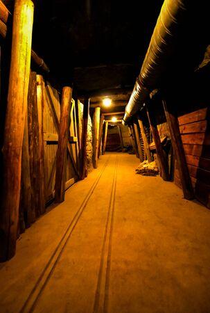 Historic underground mining tunnel of diamond mine in South Africa Stock Photo