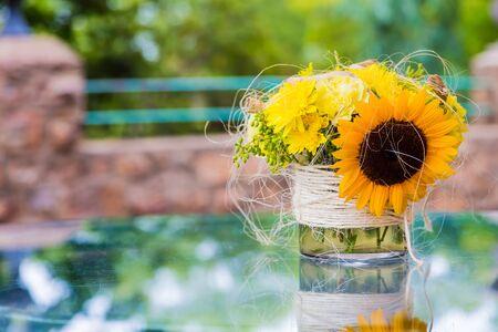 Yellow sunflower flower display for Spring Festival event decor