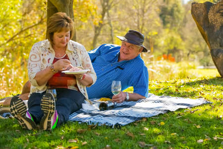 Johannesburg, South Africa, 05/10/2014,  Middle aged couple sitting on a picnic blanket under a tree at The Winter Sculpture Fair at Nirox Sculpture Park Éditoriale