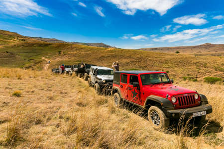Harrismith, South Africa - October 02 2015: 4x4 Mountain Path Driver Training at Camp Jeep in the Drakensberg Editorial