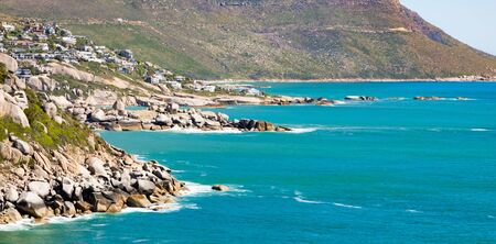 Elevated view of Llandudno beach and seaside town of Cape Town