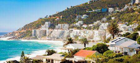 Wide Angle view of Clifton Beach and  apartments in Cape Town South Africa