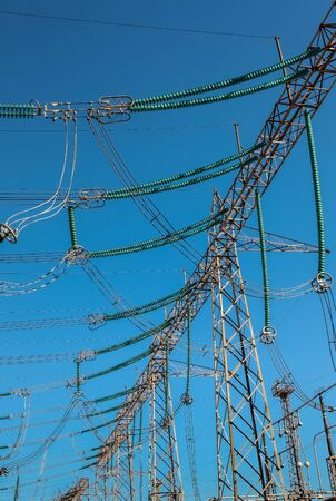 High Voltage Industrial sized electrical power lines at a distribution sub station
