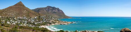 Elevated view of Llandudno beach and suburb in up-market seaside town of Cape Town