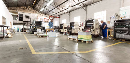 Middelburg, South Africa - February 2, 2015: Inside an empty Printing and Packaging Factory Facility Éditoriale