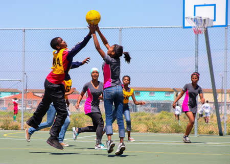Cape Town, South Africa, December 06, 2011, Diverse children playing Netball at school