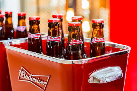Johannesburg, South Africa - March 27, 2018: Budweiser bottles of beer in red branded ice bucket on bar counter Editorial