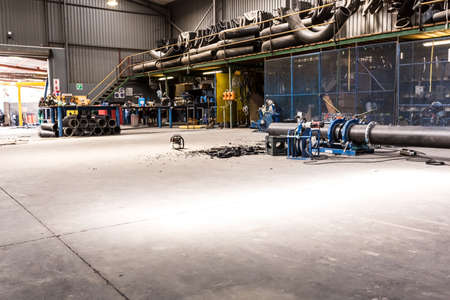 Rustenburg, South Africa - February 9, 2015: Empty steel and pipe manufacturing and fabrication workshop