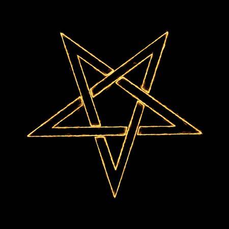 Burning Flames Effect on a Pentagram Symbol on a black background