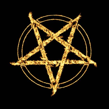 Burning Flames Effect on a Pentagram Symbol on a black background Imagens