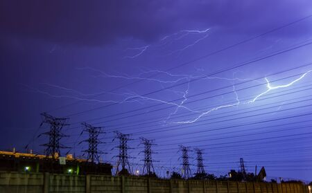 Lightning bolt over a electric power lines