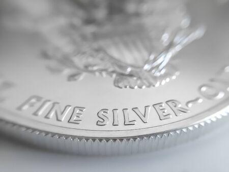 Macro close up of a silver coin Stok Fotoğraf
