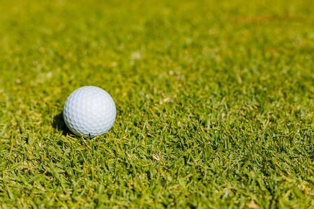 Close up of a Golf Ball on a Fairway green at a golf course