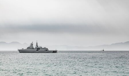 South African Navy Frigate warship in False Bay Cape Town South Africa Stok Fotoğraf