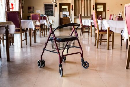 Old Medic Rollator 4 wheel Aluminum With Hand Brake in a old age nursing home