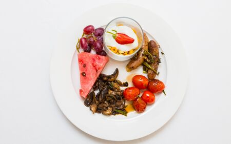 Flat Lay Top View Breakfast Brunch mixed plate at Spring Festival picnic event Reklamní fotografie