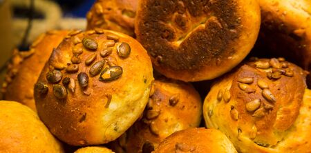 Whole Wheat brown bread rolls at Spring Festival picnic event Stok Fotoğraf