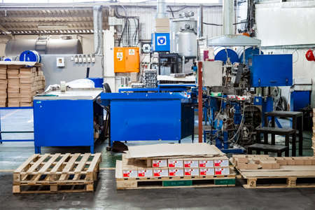 Johannesburg, South Africa - October 19, 2012: Machinery used on a glue and adhesives assembly line in a factory Editorial