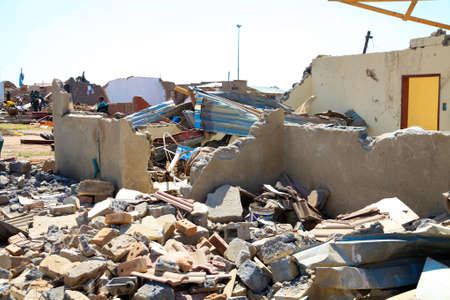 Johannesburg, South Africa - October 04 2011: Tornado Damaged Homes in a small South Africa Township