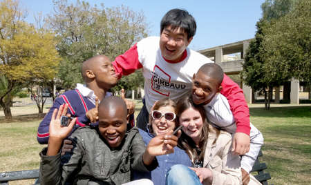 Johannesburg, South Africa - August 28 2010: Diverse College Students on Campus Redactioneel