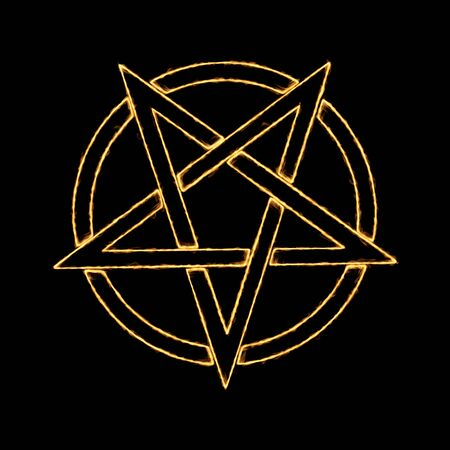 Burning Flames Effect on a Pentagram Symbol on a black background Stok Fotoğraf