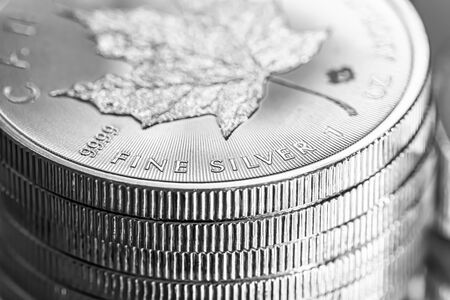 Cape Town, South Africa - August 17, 2019:  Illustrative Editorial image of Macro Close up of a 9999 Silver Canadian Maple Leaf Bullion Coin