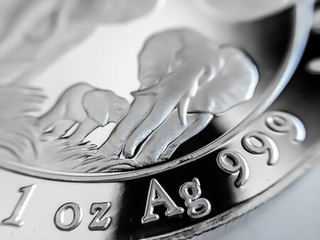 Macro Close up of a 999% Silver Bullion Coin as Money