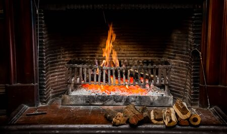 Burning logs in a Winter fireplace
