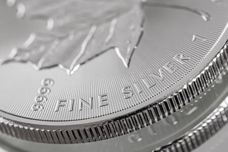 Macro Close up of a 999% Silver Canadian Maple Leaf Bullion Coin