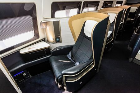Interior view of Empty Airplane seats on board a luxury jet liner 版權商用圖片
