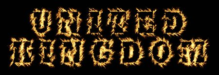 United Kingdom Text with Burning Flames Effect against a black background